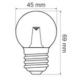 Ampoules guinguette LED blanc chaud avec lentille, enveloppe transparente, Ø45