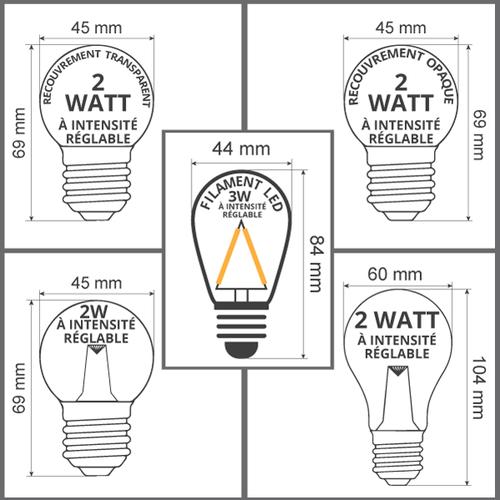 Ampoules LED blanches  chaleureuses  à intensité réglable, 2 - 3 watt