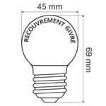 Ampoules LED blanches et chaleureuses avec enveloppe givrée, Ø45