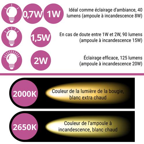 Ampoules LED à filament blanches et chaleureuses avec enveloppe transparente - 1 watt