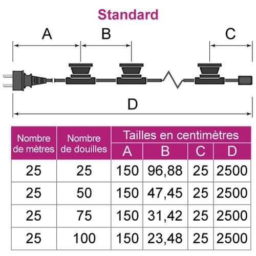 Guirlande guinguette noire de  25 mètres avec fiche avec fiches et 25, 50, 75 ou 100 douilles montées