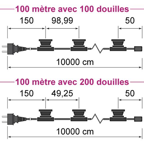 Guirlande guinguette noire de  100 mètres avec fiche et 100 ou 200 douilles montées