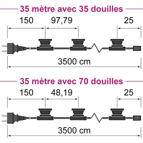 Guirlande guinguette noire de  35 mètres avec fiche et 35 ou 70 douilles montées