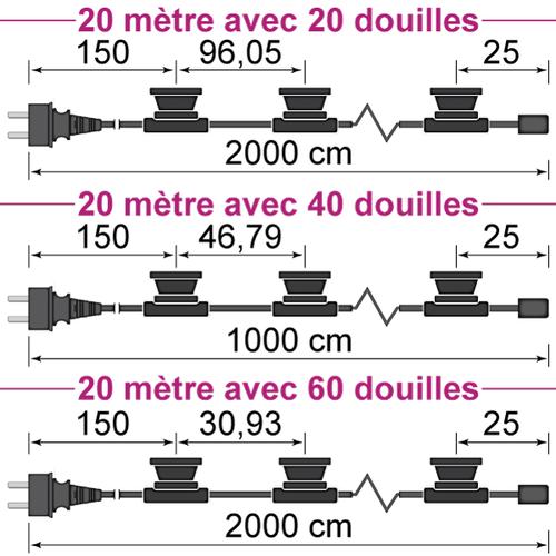 Guirlande guinguette noire de  20 mètres avec fiche et 20, 40 ou 60 douilles montées
