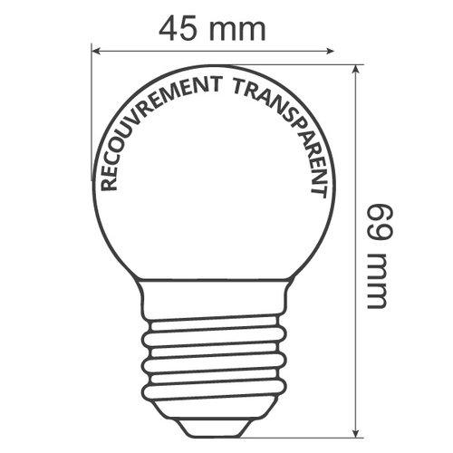 Ampoules guinguette à LED blanches chaleureuses, encastrées, enveloppe  transparente, Ø45
