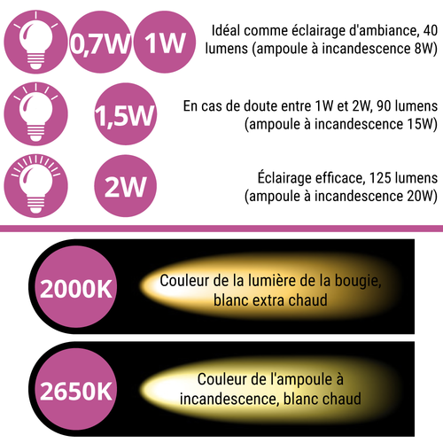 Ampoules guinguette à LED blanc chaud, encastrées, enveloppe  transparente, Ø45