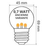Ampoules guinguette à LED blanches chaleureuses avec LED surélevées (lueur jaune)