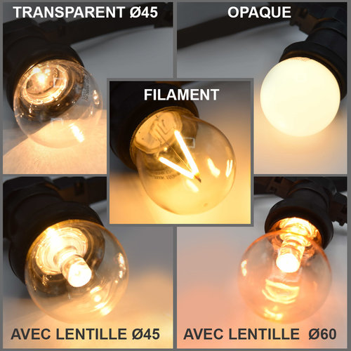 Ampoules LED , blanc chaud,  à intensité variable, 2 - 3 watt