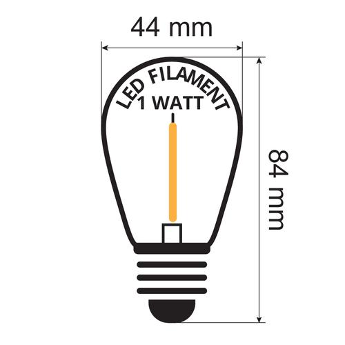 Kit guirlande guinguette, de 1 watt, avec ampoules à filament , de 5 à 10 mètres.