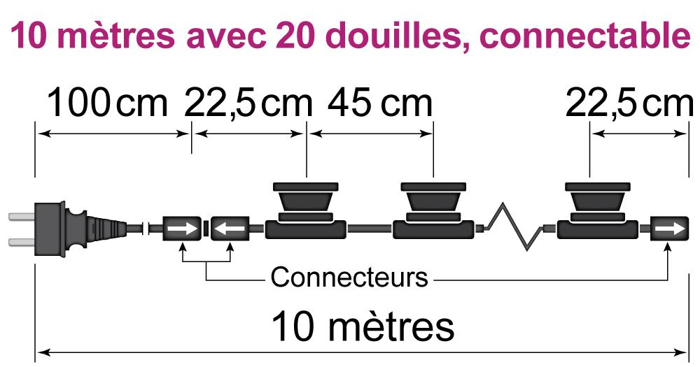 10 mètres avec 20 douilles, connectable