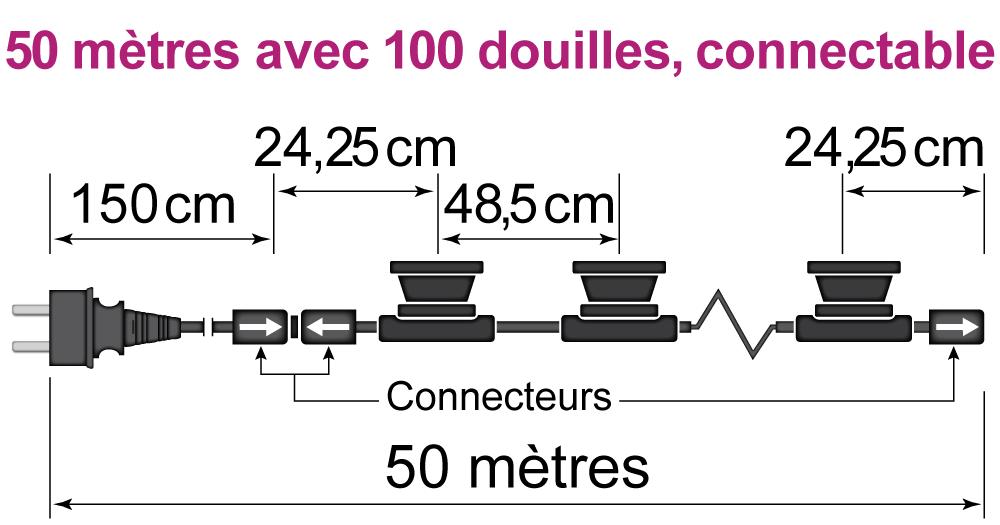 50 mètres avec 100 douilles, connectable
