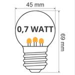Ampoules LED blanc chaud avec LED sur bâton court - 0,7 watt
