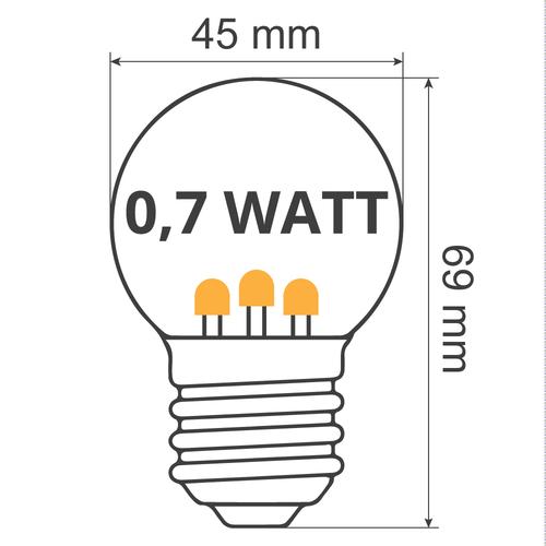 Ampoule LED blanc chaud avec LED sur bâton court - 0,7 watt