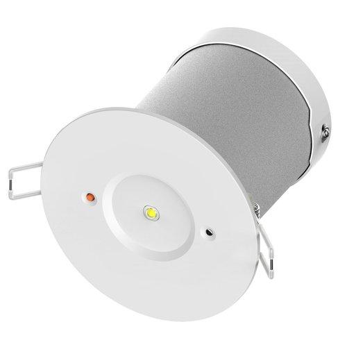 Lampe de secours 2 watts à spot encastré avec autotest