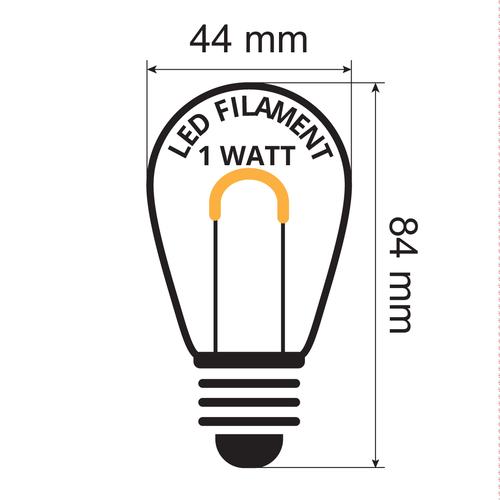 Ampoule blanc chaud, en forme de U - 1 watt