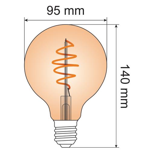 Ampoule spirale à croissant 5W XL, 1800K, verre ambré Ø95 - dimmable