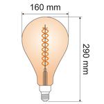 Ampoule spirale ADN XXL 8,5W, 2000K, verre ambré Ø160 - dimmable