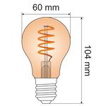 Ampoule spirale 5W, 1800K, verre ambré Ø60 - dimmable