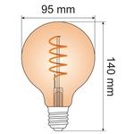 Ampoule spirale 5W XL, 1800K, verre ambré Ø95 - dimmable