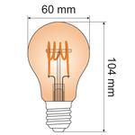 Ampoule spirale horizontale 5W, 1800K, verre ambré Ø60 - dimmable