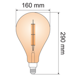 Ampoule à double étage XXL 10W, 2000K, verre ambré Ø160 - dimmable