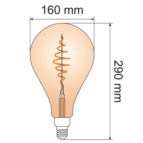 Ampoule spirale croissante 8,5W XXL, 2000K, verre ambré Ø160 - dimmable