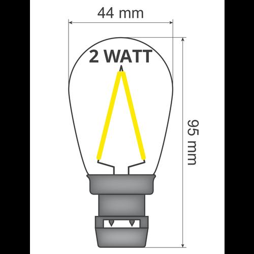 Ampoule - filament 2W, dimmable (sans douille E27)
