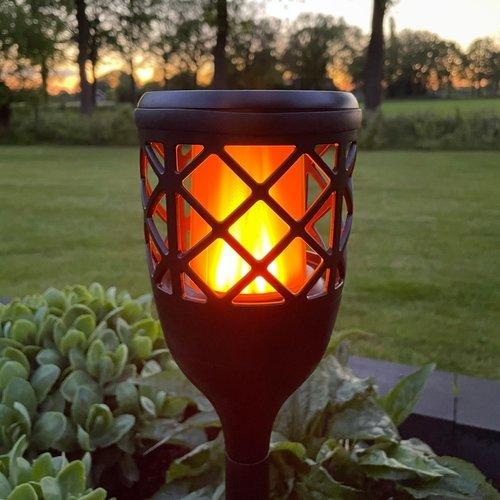 Torche solaire avec effet de flamme - noir