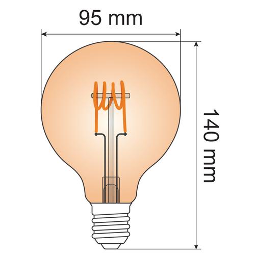 Ampoule spirale horizontale 5W XL, 1800K, verre ambré Ø95 - dimmable