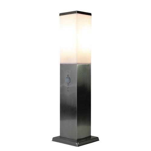 Lampe extérieur Leopoldo en acier inoxydable avec capteur, 45 cm