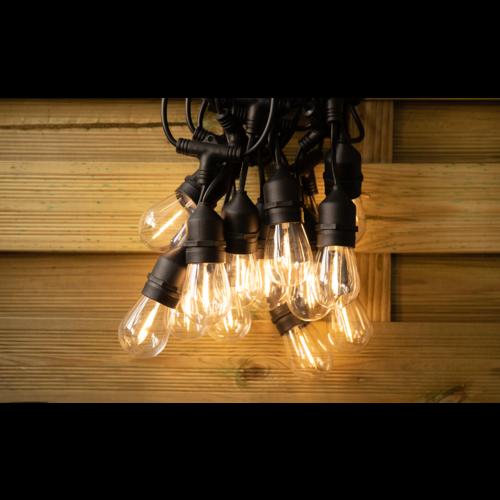 Guirlande solaire d'extérieur avec 15 ampoules à suspendre - 15 mètres