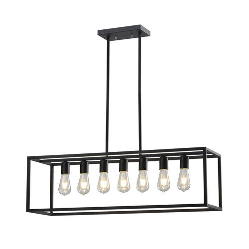 Lampe suspendue industrielle noire 7-lumières - Zagreb cage