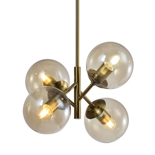 Lampe suspendue rétro avec verre ambré 4 lumières - Florence