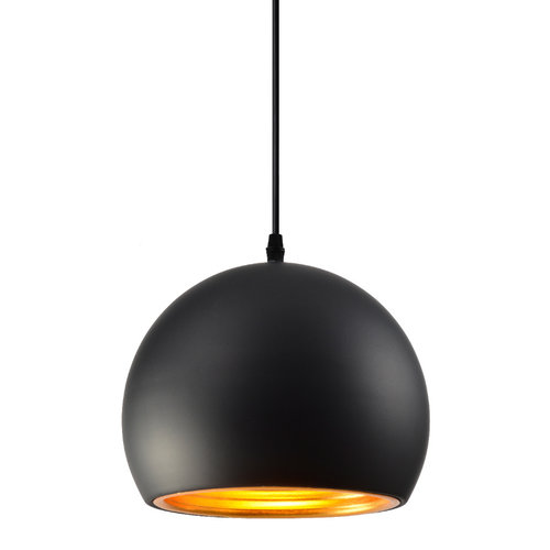 Lampe suspendue moderne ronde noire avec or 20cm - Goldy