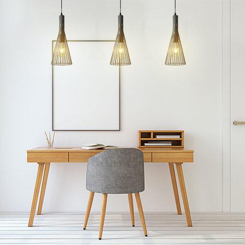 Lampe suspendue industrielle en métal noir - Sofia
