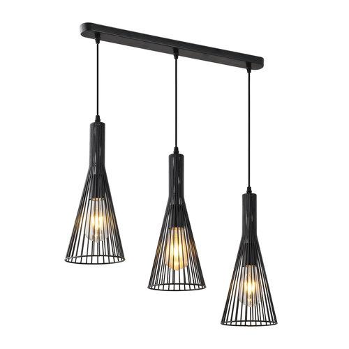 Lampe suspendue industrielle en métal noir 3 lumières - Sofia