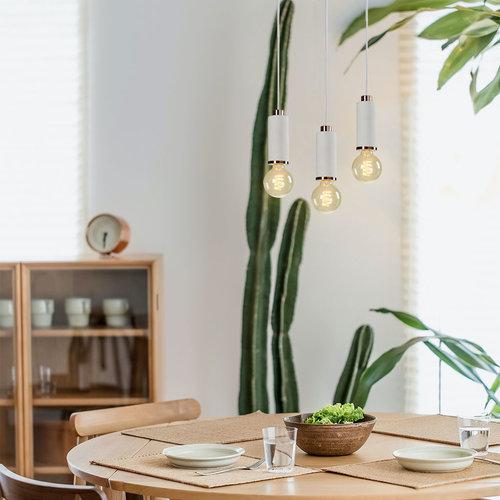 Lampe suspendue design en béton blanc léger avec décoration en or rose - Vienne