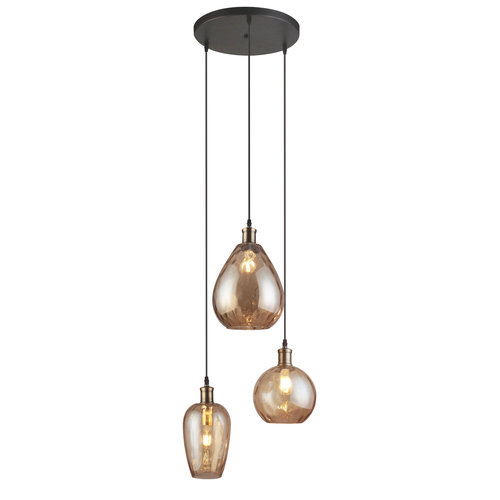 Lampe suspendue design avec verre ambré 3-lumières - Verone