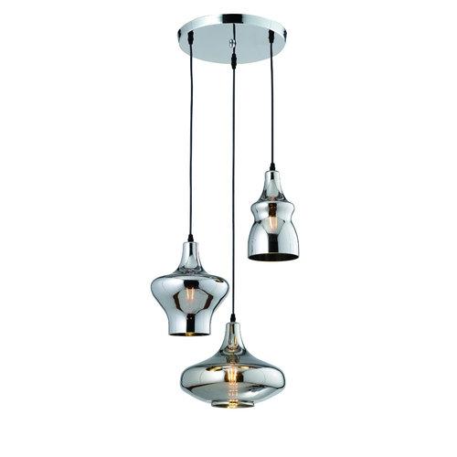 Lampe suspendue design chromée 3 lumières - Bari