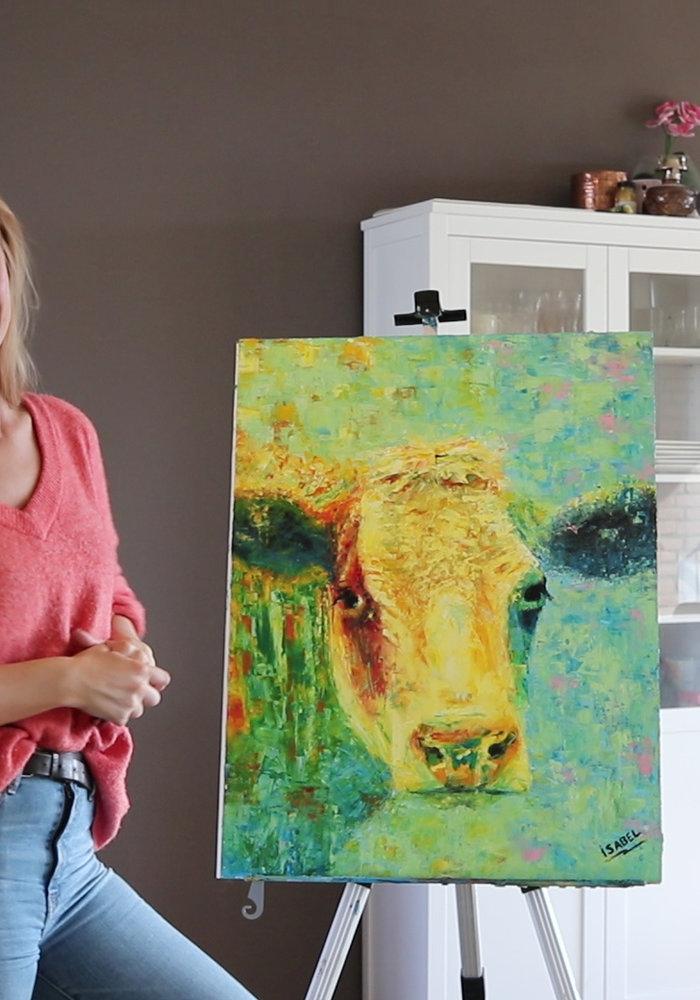 Olie Schilderij Koe gemaakt door Isabel