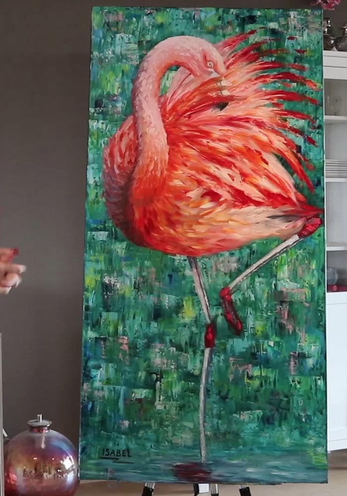 Origineel olie Schilderij Flamingo gemaakt door Isabel