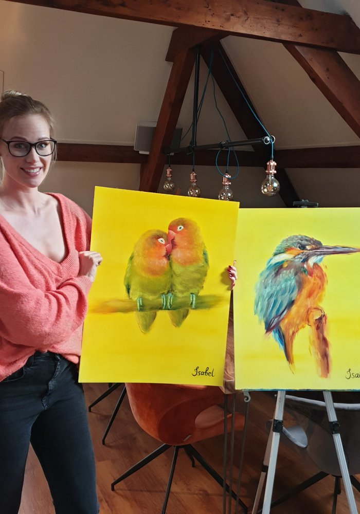 Oil Painting Lovebirds made by Isabel
