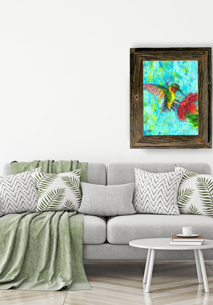 Oil Painting Humming Bird made by Isabel