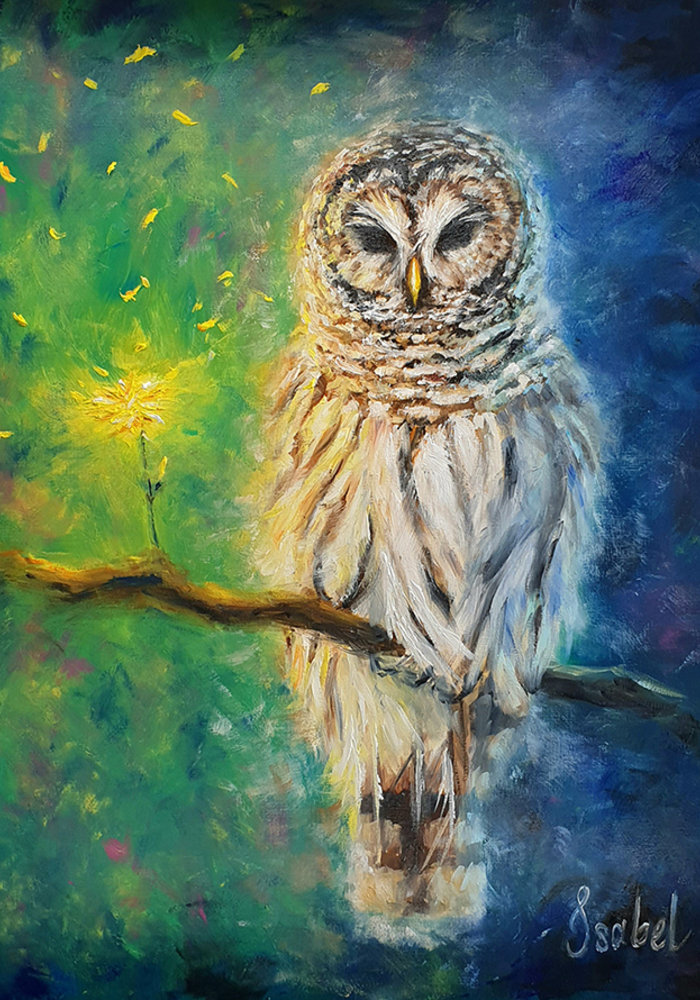 Oil Painting Owl made by Isabel