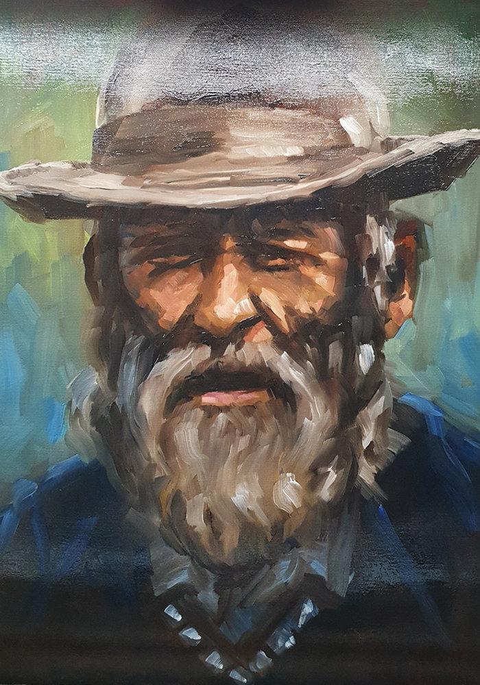 Oil Painting Portrait man with beard made by Isabel
