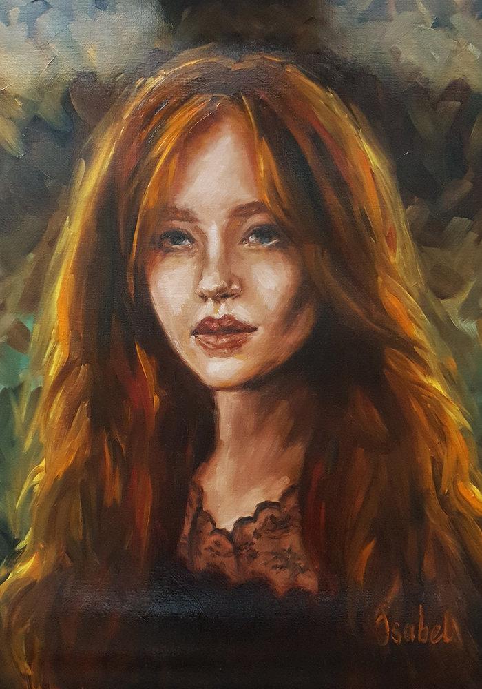 Olie Schilderij Portret vrouw met rood haar gemaakt door Isabel