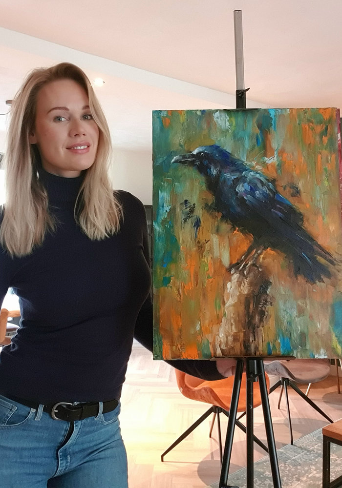 Oil Painting Raven made by Isabel