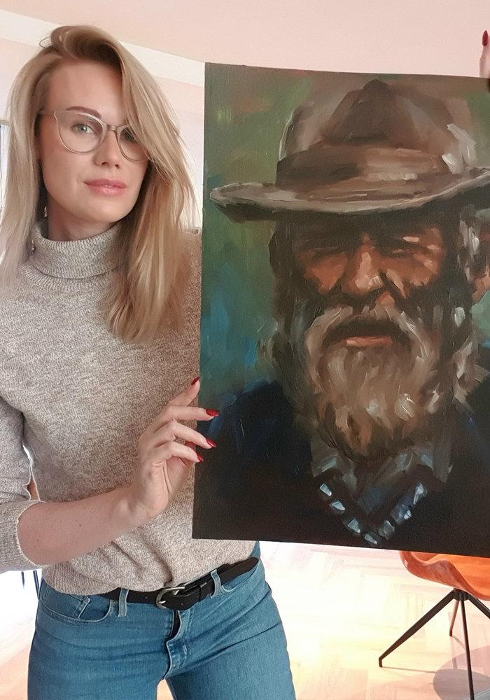 Olie Schilderij Portret man with beard gemaakt door Isabel