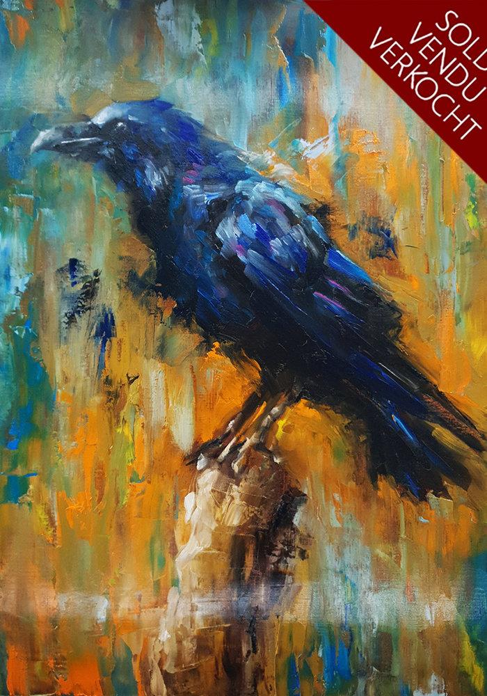 Olie Schilderij Raaf gemaakt door Isabel