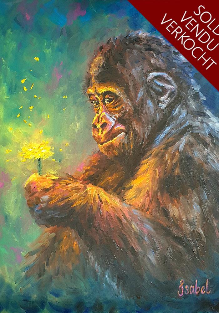 Twitch Olie Schilderij Aap gemaakt door Isabel